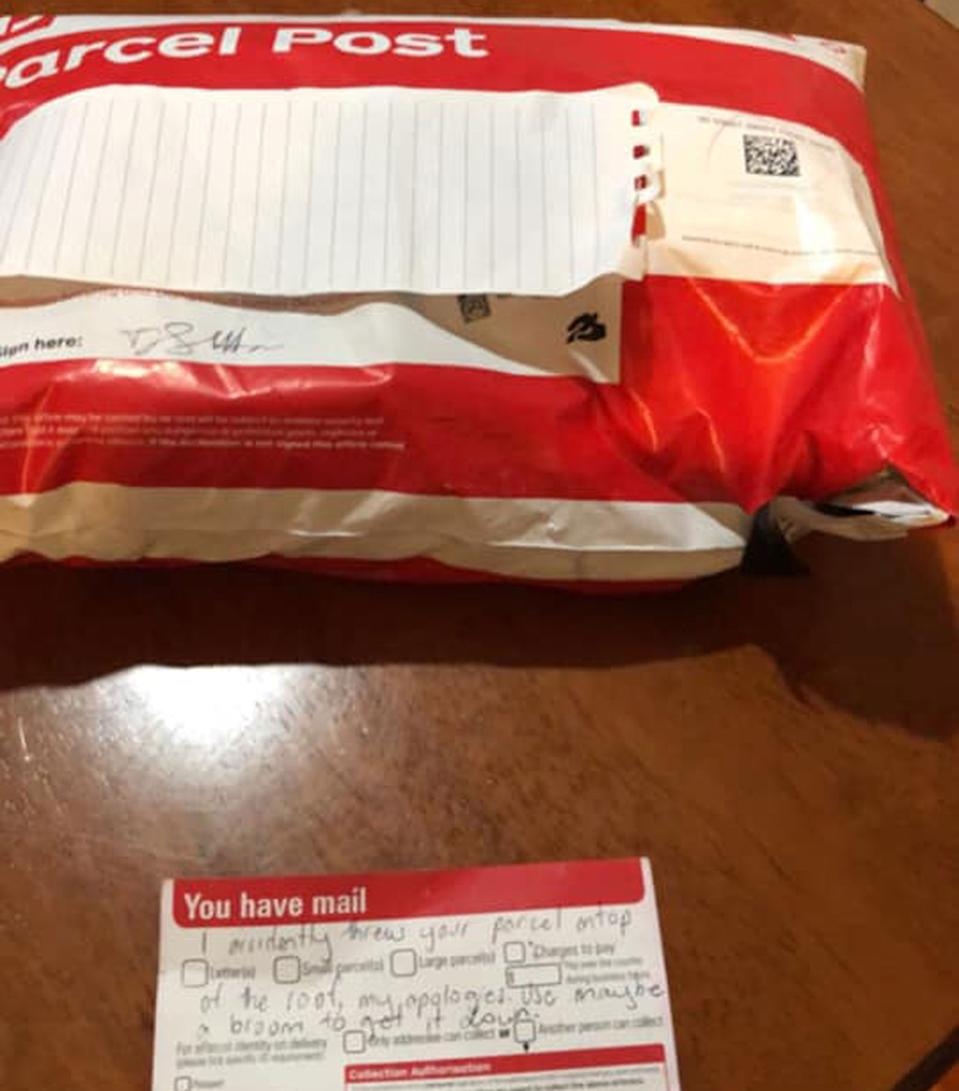 The Castle Hill woman's parcel, which she claims was found on the roof of her home, and the notice believed to be from an Australia Post worker claiming it was thrown on the roof by accident.