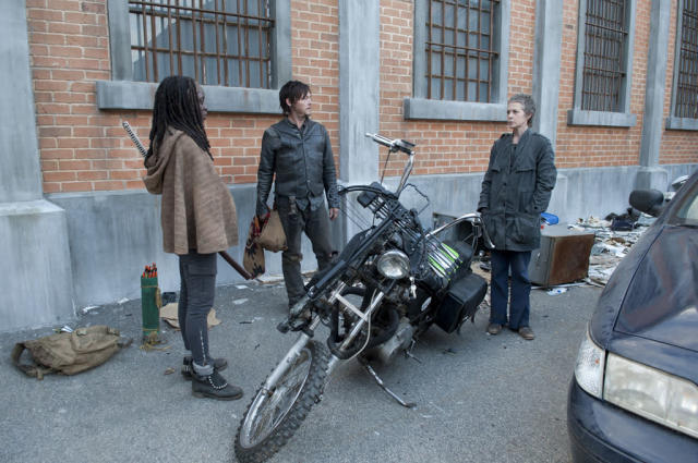 "Michonne (Danai Gurira), Daryl Dixon (Norman Reedus) and Carol (Melissa Suzanne McBride) in ""The Walking Dead"" Season 3 Finale, ""Welcome to the Tombs."""