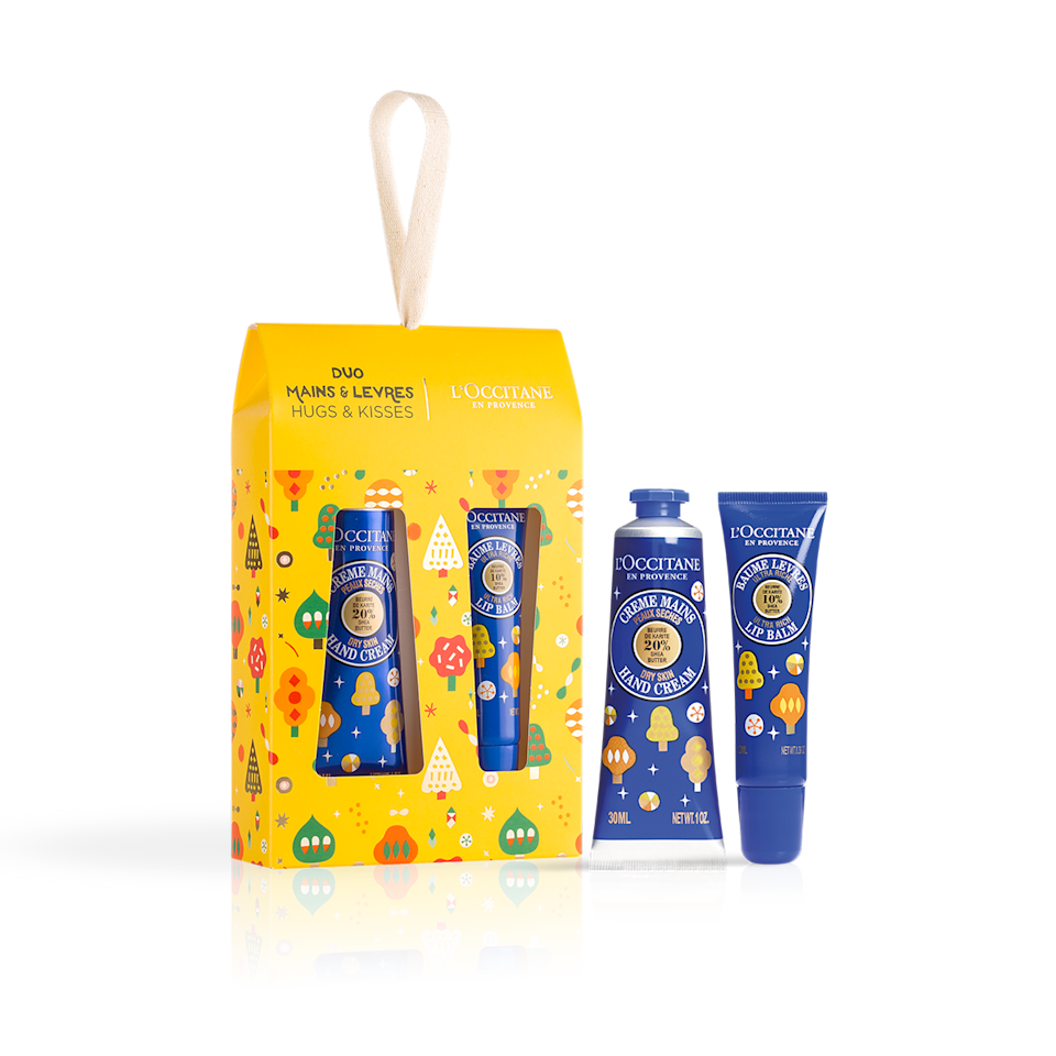 """<h2>L'Occitane Shea Butter Hugs & Kisses</h2><br><strong>Best For: Mom<br>Budget: $24</strong><br>For a little treat that can spark a big smile, send mom this cheerful gift set which includes a nourishing hand cream and lip balm. <br><em><br>Shop <strong><a href=""""https://www.loccitane.com/en-us/gifts"""" rel=""""nofollow noopener"""" target=""""_blank"""" data-ylk=""""slk:L'Occitane"""" class=""""link rapid-noclick-resp"""">L'Occitane </a></strong></em><br><br><strong>L'Occitane</strong> Shea Butter Hugs & Kisses, $, available at <a href=""""https://go.skimresources.com/?id=30283X879131&url=https%3A%2F%2Fwww.loccitane.com%2Fen-us%2Fshea-butter-hugs-kisses-NAOCVKI002177.html"""" rel=""""nofollow noopener"""" target=""""_blank"""" data-ylk=""""slk:L'Occitane"""" class=""""link rapid-noclick-resp"""">L'Occitane</a>"""