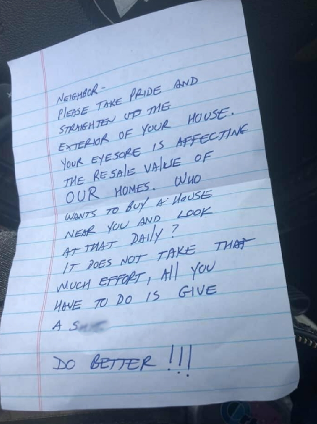 Note left in the mom's mailbox (Credit: Facebook)