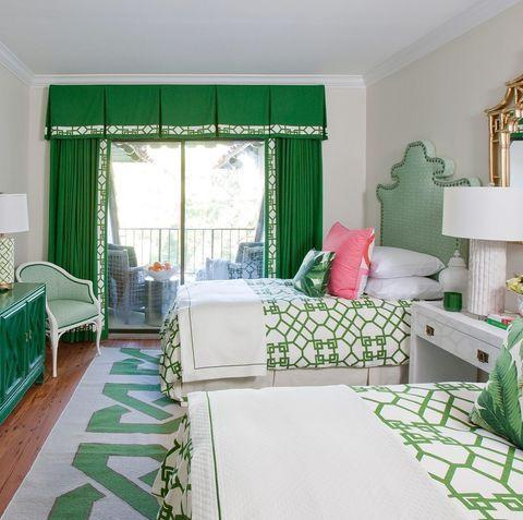 """<p>How many shades of green can you count in this cheery bedroom? </p><p><a href=""""https://www.instagram.com/p/CMhJa1QgOUK/"""" rel=""""nofollow noopener"""" target=""""_blank"""" data-ylk=""""slk:See the original post on Instagram"""" class=""""link rapid-noclick-resp"""">See the original post on Instagram</a></p>"""