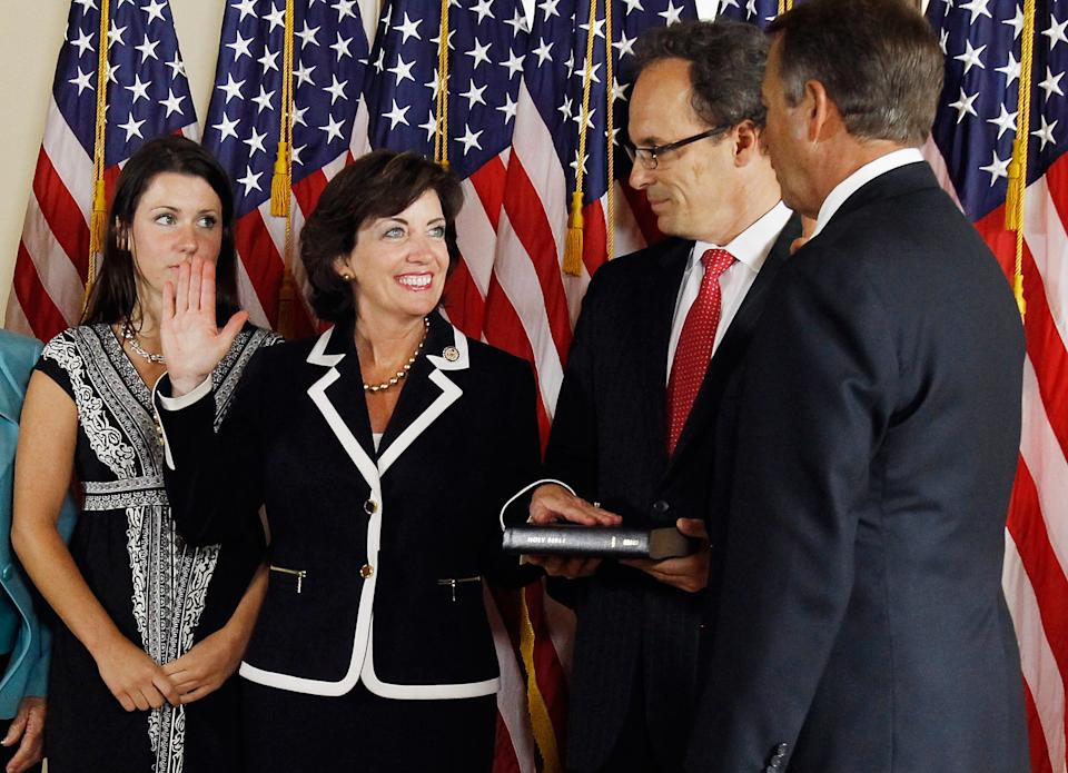 Kathy Hochul, second from left