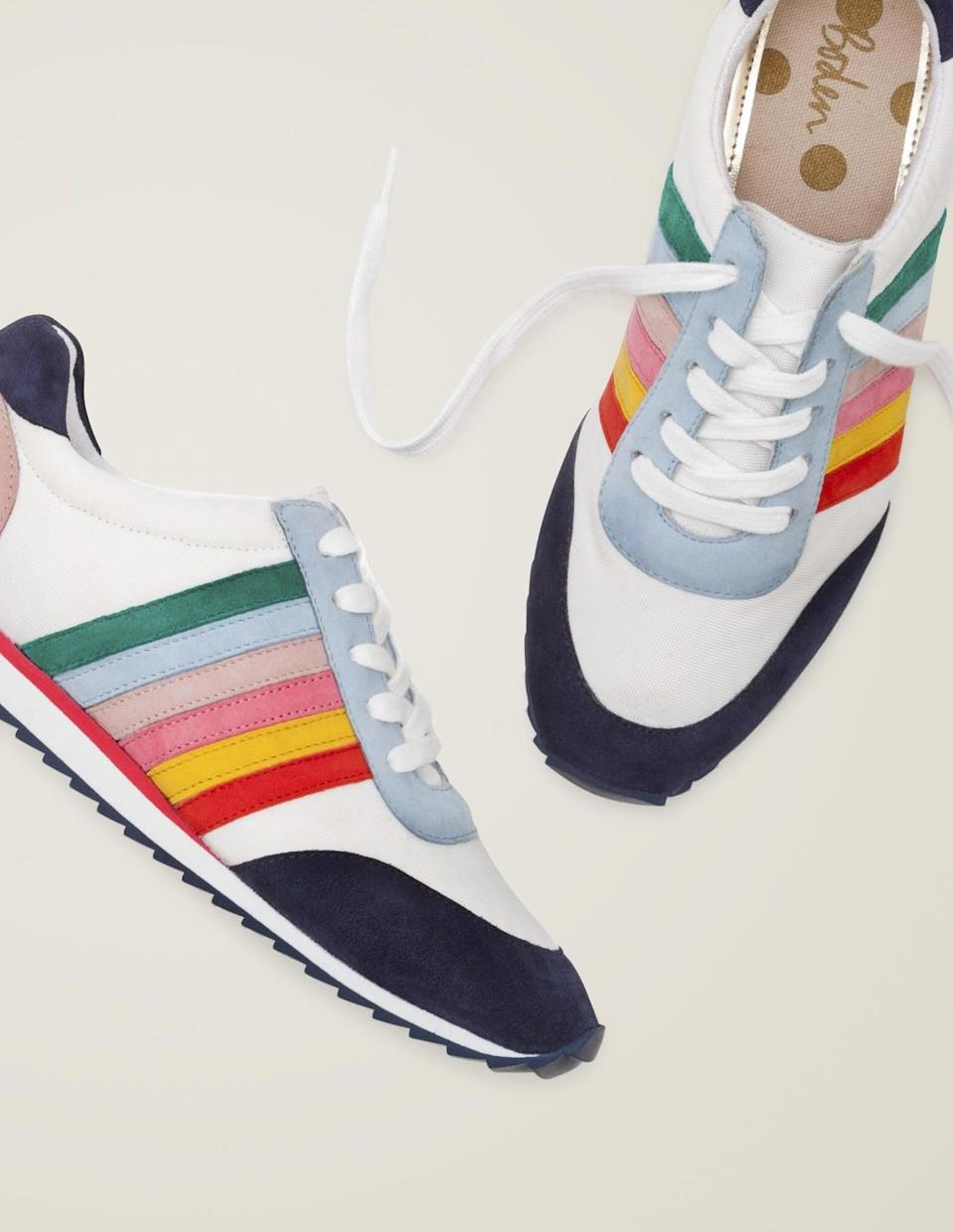 <p>The rainbow accents on these <span>Boden Striped Sneakers</span> ($120) add a touch of playfulness.</p>