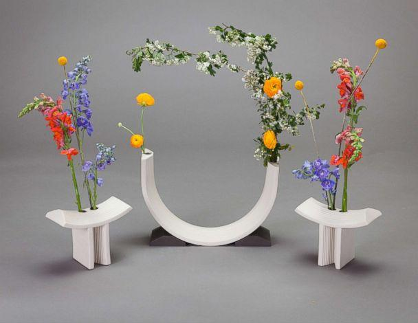 PHOTO: Rainbow flower vases for brand Linea Sette by designer Bethan Laura Wood glass. (Courtesy Angus Mills)