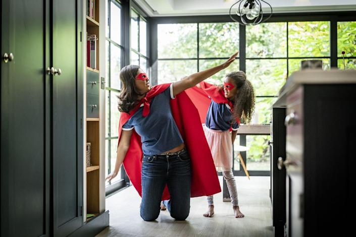 """<p>You're already a superhero to your daughter, so why not dress like one for Halloween? No one could defeat this super duper mother-daughter duo!</p><p><a class=""""link rapid-noclick-resp"""" href=""""https://www.amazon.com/dp/B06Y2K6F2V/ref=redir_mobile_desktop?tag=syn-yahoo-20&ascsubtag=%5Bartid%7C2164.g.37079496%5Bsrc%7Cyahoo-us"""" rel=""""nofollow noopener"""" target=""""_blank"""" data-ylk=""""slk:SHOP SUPERHERO MASKS AND CAPES"""">SHOP SUPERHERO MASKS AND CAPES</a></p>"""
