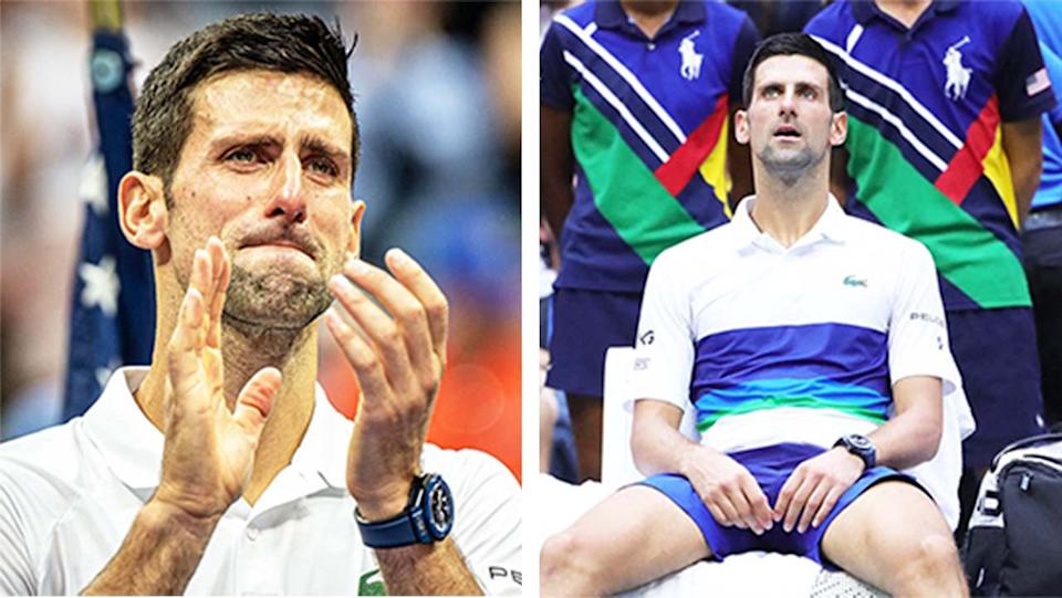 Novak Djokovic (pictured) distraught after losing the US Open men's final.