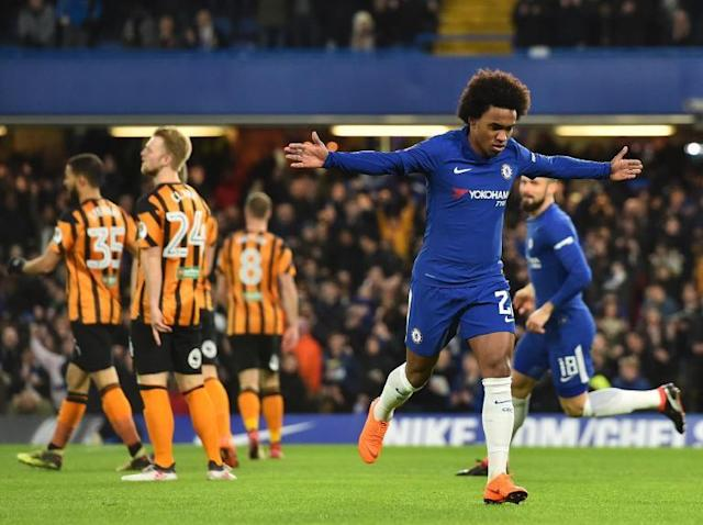 Willian shines as Chelsea thrash Hull to reach FA Cup quarter-finals