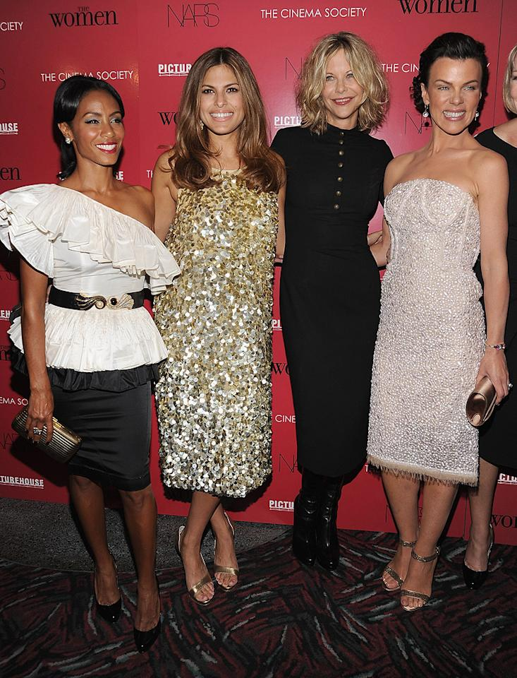 "<a href=""http://movies.yahoo.com/movie/contributor/1800347522"">Jada Pinkett Smith</a>, <a href=""http://movies.yahoo.com/movie/contributor/1802957206"">Eva Mendes</a>, <a href=""http://movies.yahoo.com/movie/contributor/1800017434"">Meg Ryan</a> and <a href=""http://movies.yahoo.com/movie/contributor/1800018946"">Debi Mazar</a> at the New York City Cinema Society Screening of <a href=""http://movies.yahoo.com/movie/1809926850/info"">The Women</a> - 09/11/2008"