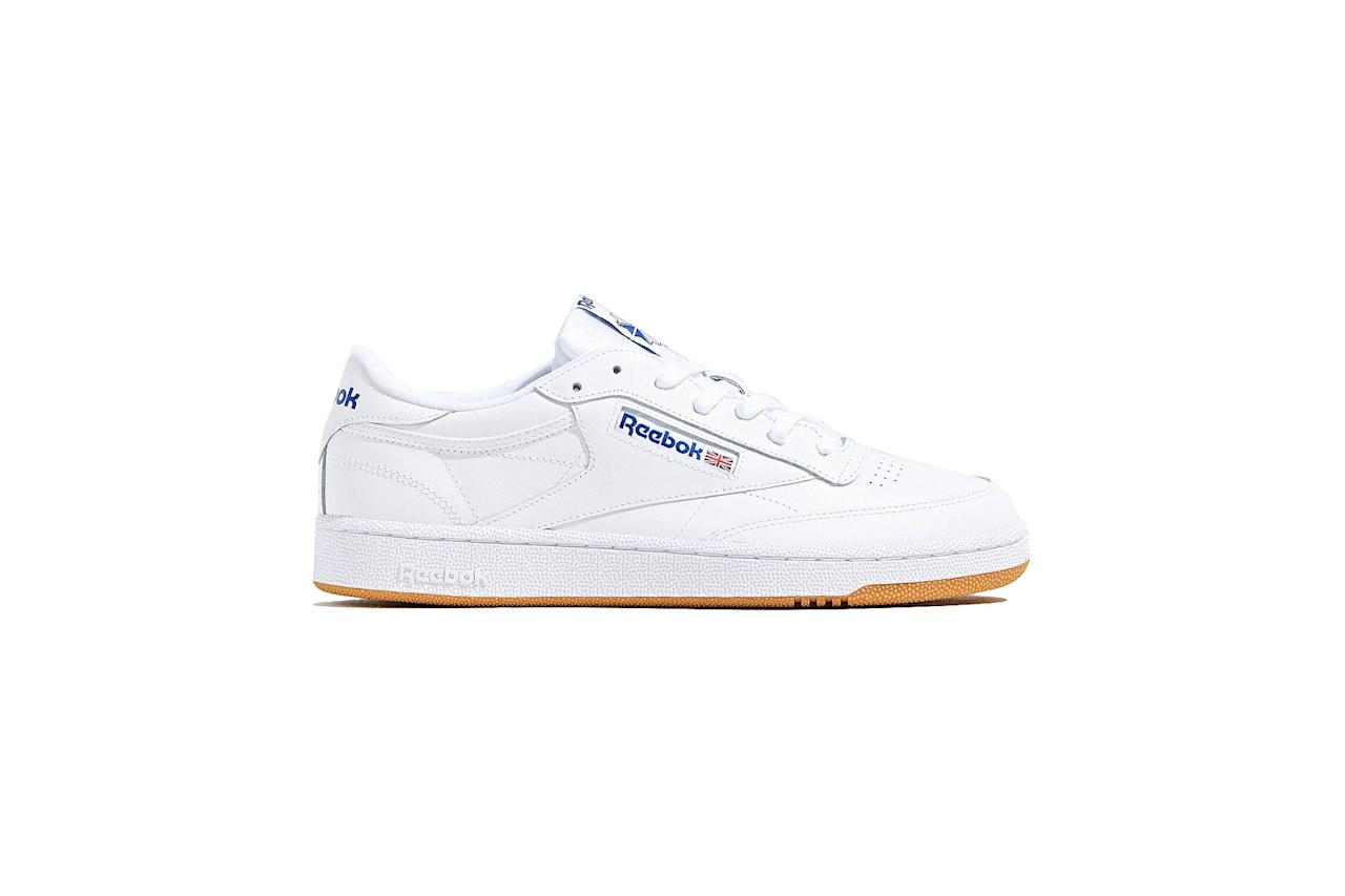 "$70, Urban Outfitters. <a href=""https://www.urbanoutfitters.com/shop/reebok-club-c-85-sneaker10?category=mens-clothing-sale&color=010"">Get it now!</a>"