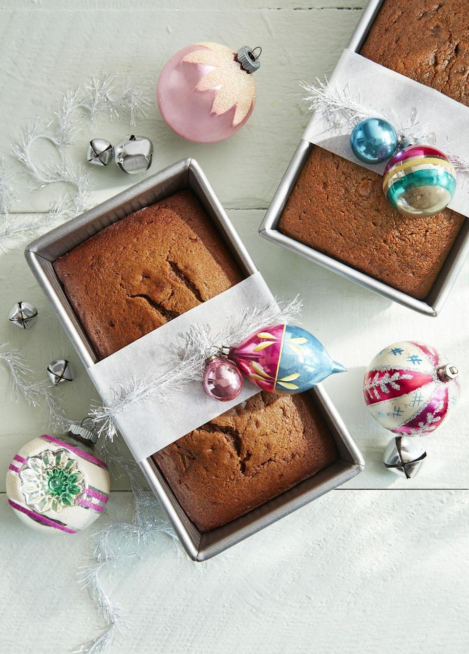 """<p>Though it makes a great holiday gift, this sweet, complex-tasting gingerbread loaf is also good to just keep on hand. Eat a slice with a cup of coffee. </p><p><strong><a href=""""https://www.countryliving.com/food-drinks/a25439942/gingerbread-pear-loaf-recipe/"""" rel=""""nofollow noopener"""" target=""""_blank"""" data-ylk=""""slk:Get the recipe"""" class=""""link rapid-noclick-resp"""">Get the recipe</a>.</strong></p><p><strong><a class=""""link rapid-noclick-resp"""" href=""""https://www.amazon.com/USA-Pan-1140LF-Bakeware-Aluminized/dp/B0029JQEIC/?tag=syn-yahoo-20&ascsubtag=%5Bartid%7C10050.g.32944821%5Bsrc%7Cyahoo-us"""" rel=""""nofollow noopener"""" target=""""_blank"""" data-ylk=""""slk:SHOP BAKING PANS"""">SHOP BAKING PANS</a><br></strong></p>"""