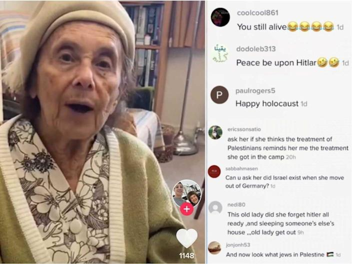Lily Ebert, left, received antisemitic comments on TikTok.