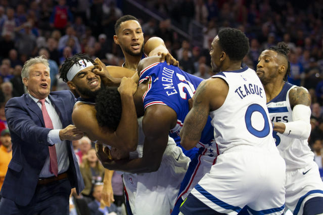 Karl-Anthony Towns was particularly fortunate to avoid serious injury on Wednesday. (Getty Images)