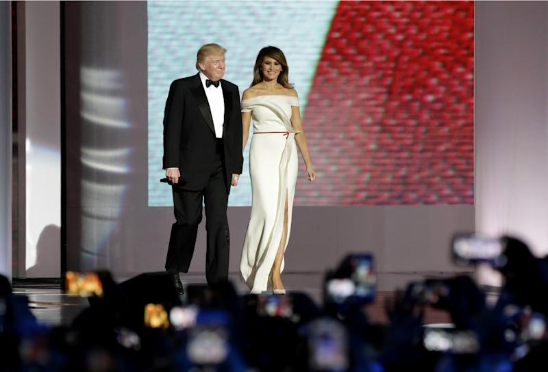 President Donald Trump Left Arrives With First Lady Melania At The Liberty Ball
