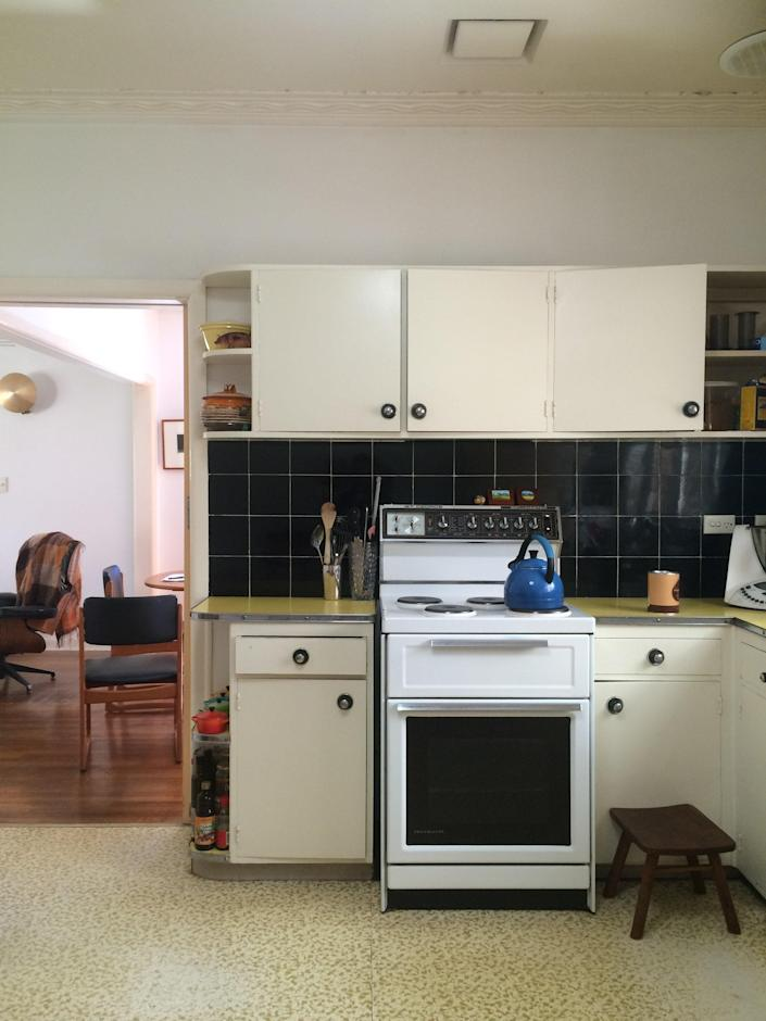 BEFORE: Besides being outdated, the original kitchen was too cramped to accommodate Owen's wheelchair.