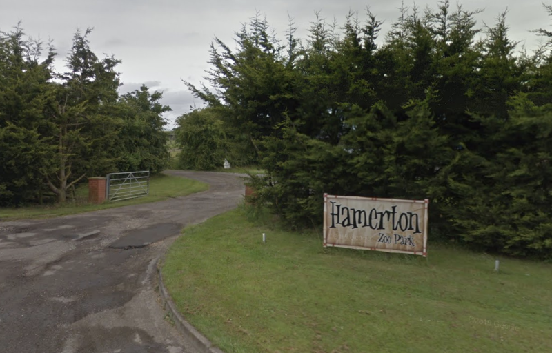 An entrance to Hamerton Zoo Park in Cambridgeshire.