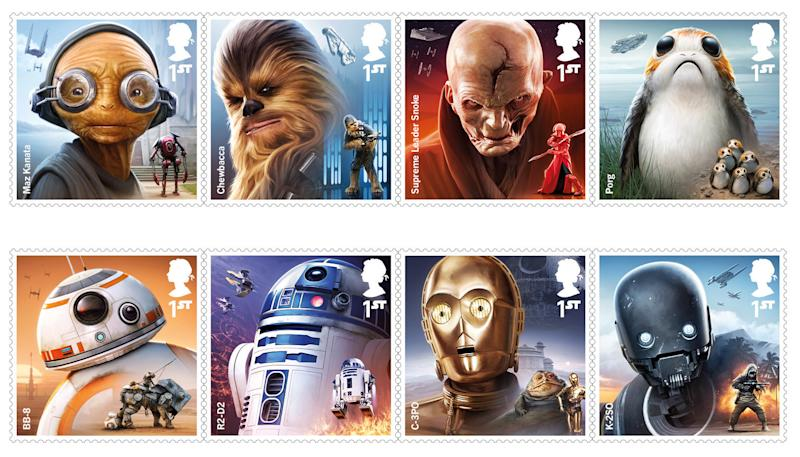 "Royal Mail has released a new set of stamps in anticipation of the release of the new ""Star Wars"" movie in December. (Royal Mail)"