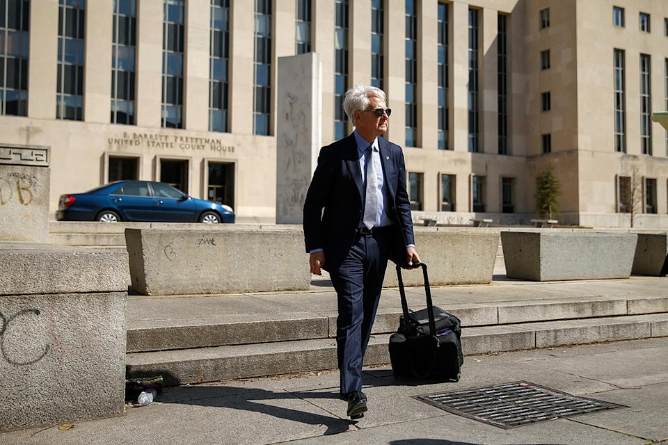 Freedom Watch attorney Larry Klayman leaves the Barrett Prettyman Federal Courthouse in Washington on April 2, 2015.