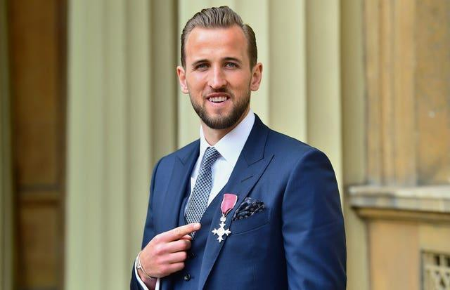 England captain Harry Kane after being made an MBE in 2019