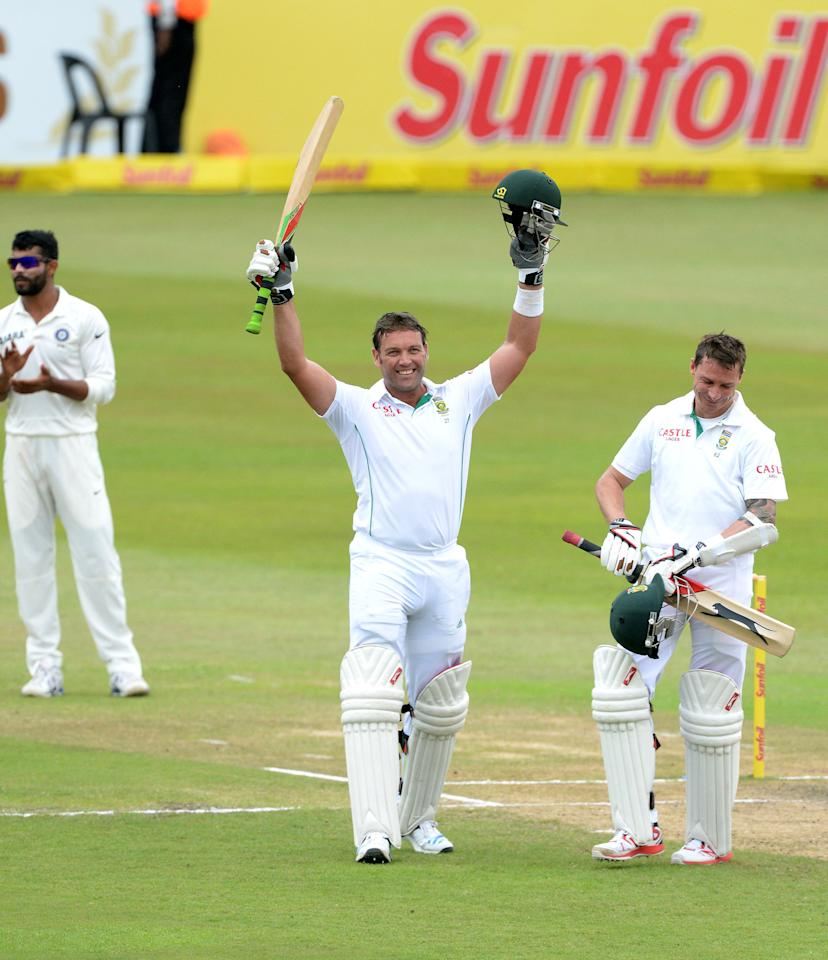 DURBAN, SOUTH AFRICA - DECEMBER 29: Jacques Kallis of South Africa celebrates his 45th century in his final test match during day 4 of the 2nd Test match between South Africa and India at Sahara Stadium Kingsmead on December 29, 2013 in Durban, South Africa. (Photo by Duif du Toit/Gallo Images/Getty Images)