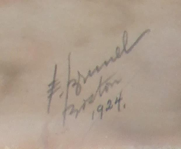 The signature, location and date that appears on the photo.