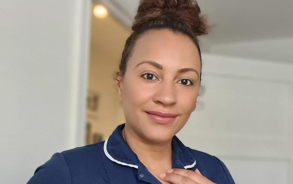 Midwife, Marley Hall, photographed here, has been helping women over social media. (SWNS)