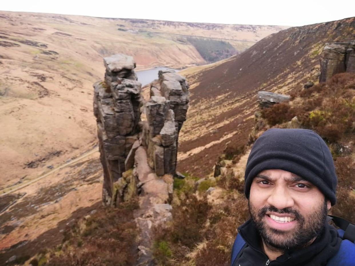 Imran Choudhury, 36, had to be rescued after he plunged down a hillside near Dovestones reservoir in the Peak District while he was training for a walk to raise funds for the NHS. (Reach)