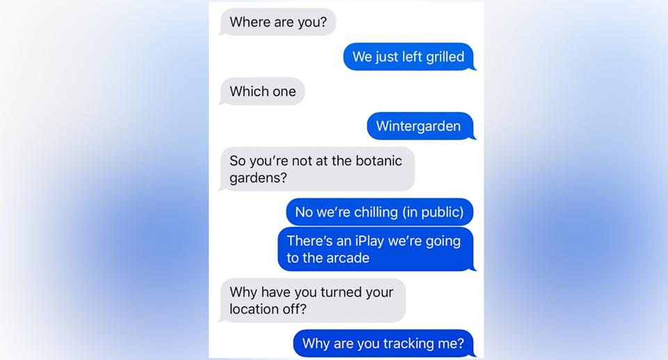 A child questions their parent about why they are tracking them. Source: Twitter