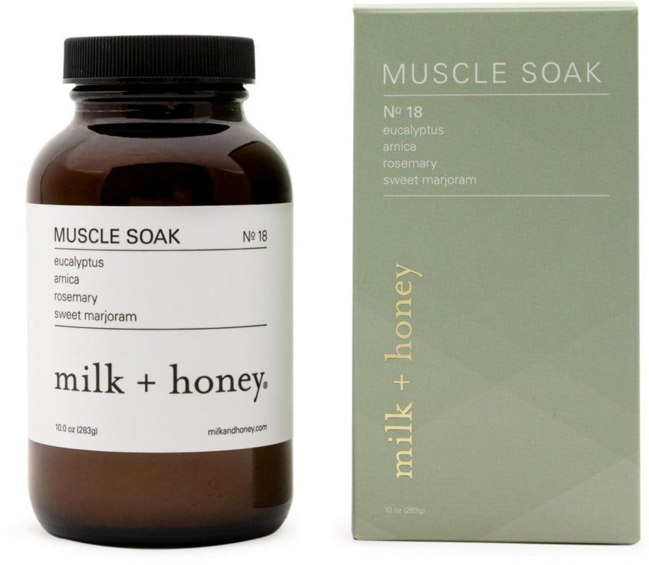 <p>The <span>Milk + Honey Eucalyptus, Arnica, Rosemary, Sweet Marjoram Sore Muscle Soak No.18</span> ($28) is the perfect soak for those with an active lifestyle or for anyone who deals with body pains.</p>