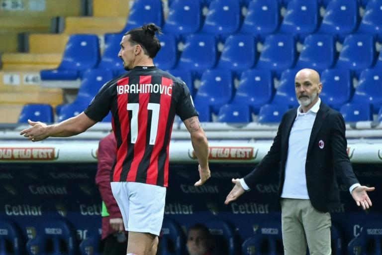 Zlatan Ibrahimovic (L) saw red in Parma