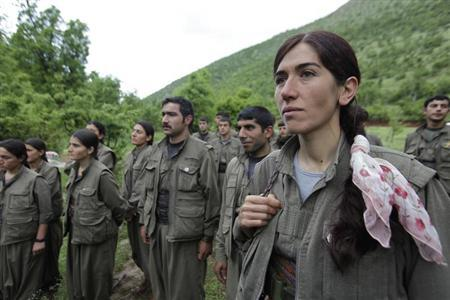 Kurdistan Workers Party (PKK) fighters stand in formation in northern Iraq