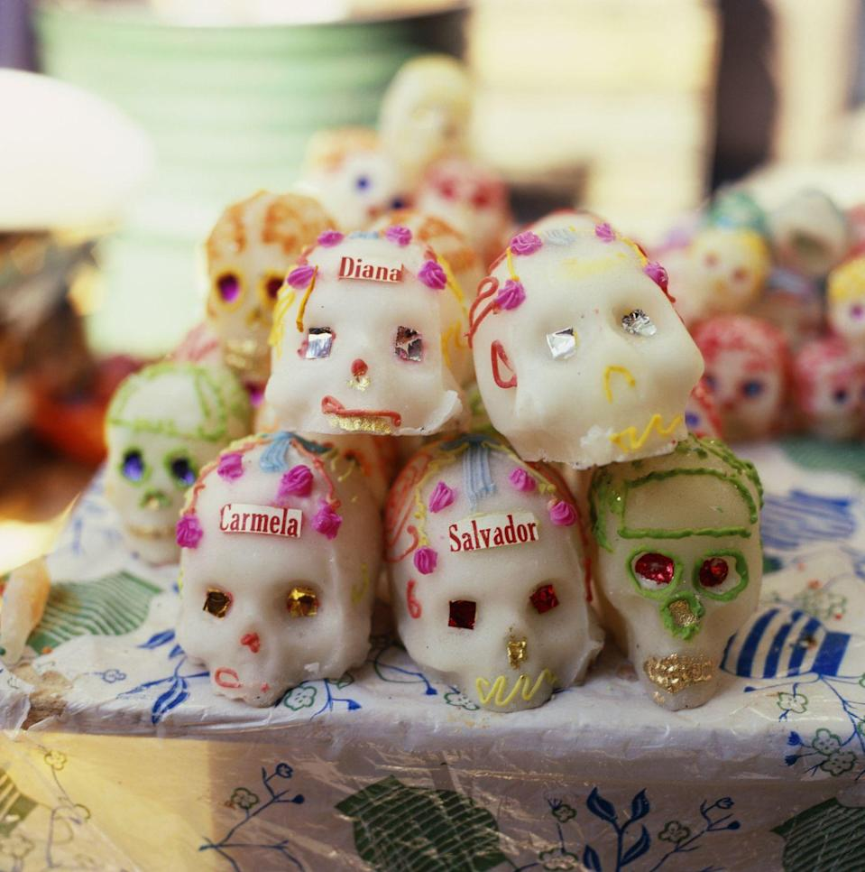 <p>The calavera (or skull) is a central image of Dia de Muertos, and one key element of every celebration is the sugar skull. These decorative candies are placed on the ofrenda as an offering to the dead, and they are given out as treats.</p>