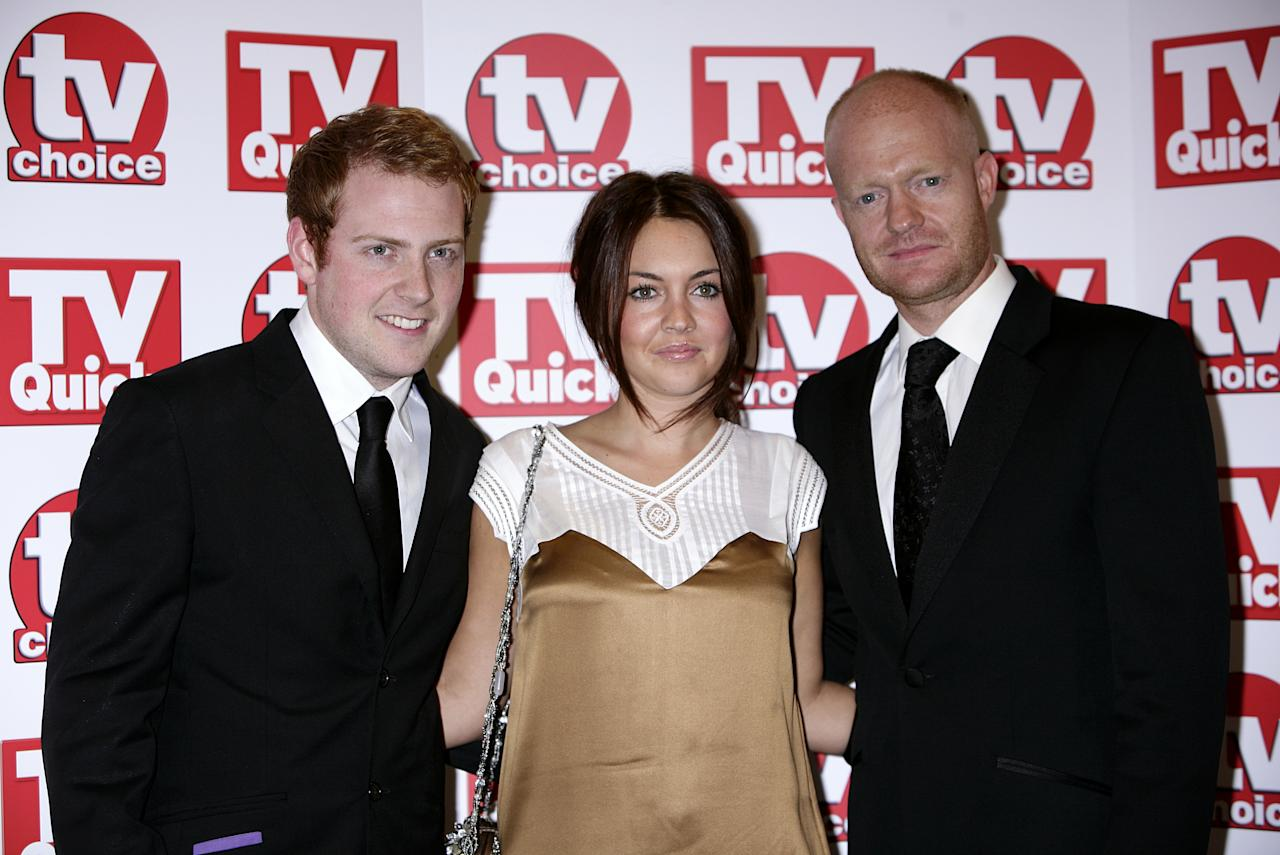 (left to right) Charlie Clements, Lacey Turner and Jake Wood arrive for the TV Quick and TV Choice awards 2008, at The Dorchester, Park Lane, London.   (Photo by Yui Mok - PA Images/PA Images via Getty Images)