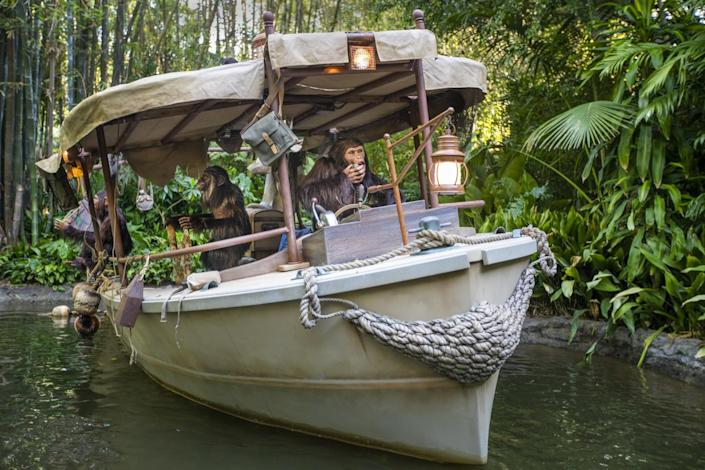 An expedition's wrecked boat taken over by chimpanzees is seen from the Jungle Cruise ride