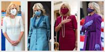 """<p><a href=""""https://www.townandcountrymag.com/society/politics/a26944878/jill-biden-joe-biden-wife-facts/"""" rel=""""nofollow noopener"""" target=""""_blank"""" data-ylk=""""slk:Dr. Jill Biden"""" class=""""link rapid-noclick-resp"""">Dr. Jill Biden</a> has begun her term as First Lady with a sartorial bang, stepping out in a series of stunning outfits—many of which were created by American designers with an eye toward sustainability. Below, a sampling of Jill's best First Lady style. </p>"""
