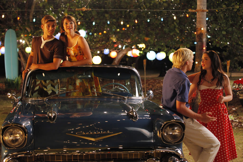 "Garrett Clayton, Maia Mitchell, Ross Lynch, and Grace Phipps in ""Teen Beach Movie"" on Disney Channel."
