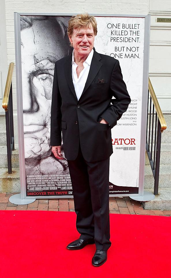 """<a href=""""http://movies.yahoo.com/movie/contributor/1800015686"""">Robert Redford</a> attends the Washington DC premiere of <a href=""""http://movies.yahoo.com/movie/1810194800/info"""">The Conspirator</a> on April 10, 2011."""