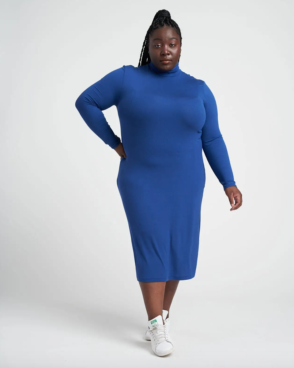 """<h2>Universal Standard Foundation Turtleneck Dress</h2><br><strong><em>The Fitted Pick</em></strong><br><br>This sleek turtleneck dress is made from a fine-ribbed, super-smooth fabric that looks fabulous on its own or layered with another piece. And considering Universal Standard is the champion of size inclusivity, it's a flattering fall style almost anyone can rock. <br><br><strong>The Hype: </strong>4.8 out of 5 stars; 23 reviews on Universalstandard.com<br><br><strong>What They're Saying</strong>: """"Soft and fitted, this dress hugged me without strangling my body... Versatile, soft, not too warm...it's perfect for wearing in San Francisco, my hometown!"""" — Lorraine C., Universal Standard reviewer<br><br><em>Shop</em> <strong><em><a href=""""https://www.universalstandard.com/products/foundation-long-sleeve-turtleneck-dress-royal-blue"""" rel=""""sponsored"""" target=""""_blank"""" data-ylk=""""slk:Universal Standard"""" class=""""link rapid-noclick-resp"""">Universal Standard</a></em></strong><br><br><strong>Universal Standard</strong> Foundation Long Sleeve Turtleneck Dress, $, available at <a href=""""https://go.skimresources.com/?id=30283X879131&url=https%3A%2F%2Fwww.universalstandard.com%2Fproducts%2Ffoundation-long-sleeve-turtleneck-dress-royal-blue"""" rel=""""sponsored"""" target=""""_blank"""" data-ylk=""""slk:Universal Standard"""" class=""""link rapid-noclick-resp"""">Universal Standard</a>"""