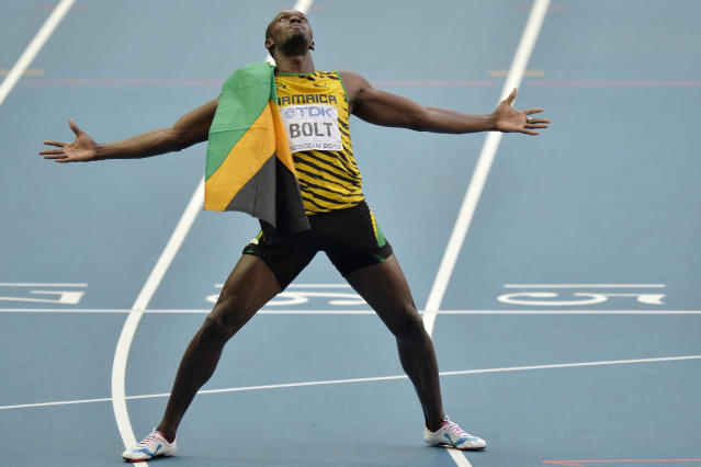 FILE - In this Aug. 17, 2013, file photo, Jamaica's Usain Bolt celebrates winning gold in the men's 200-meter final at the World Athletics Championships in Moscow, Russia. The most promising signal that track and field remains in good hands even after Usain Bolt's retirement comes from a 22-year-old American named Noah Lyles who appreciates the Jamaican superstar more for what he did after his races than during them. When Lyles spends time studying Bolt on video, he looks not at the lanky speedster's form in between the lines, but at the dancing, rollicking post-race celebrations Bolt concocted to make his sport can't-miss viewing whenever he was on the track.(AP Photo/Martin Meissner, File)