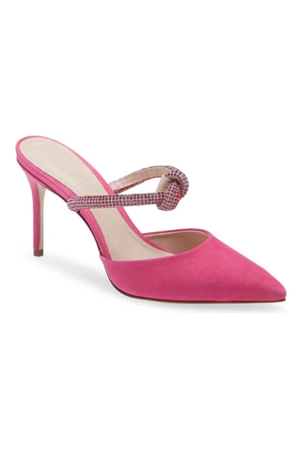 """<p><strong>Schutz</strong></p><p>nordstrom.com</p><p><strong>$128.00</strong></p><p><a href=""""https://go.redirectingat.com?id=74968X1596630&url=https%3A%2F%2Fwww.nordstrom.com%2Fs%2Fschutz-pearl-pointed-toe-mule-women%2F5882881&sref=https%3A%2F%2Fwww.townandcountrymag.com%2Fstyle%2Ffashion-trends%2Fg36474527%2Fstatement-heels%2F"""" rel=""""nofollow noopener"""" target=""""_blank"""" data-ylk=""""slk:Shop Now"""" class=""""link rapid-noclick-resp"""">Shop Now</a></p><p>A shimmery knotted strap angled across the arch is supremely flattering when you want to show a lotta leg. </p>"""