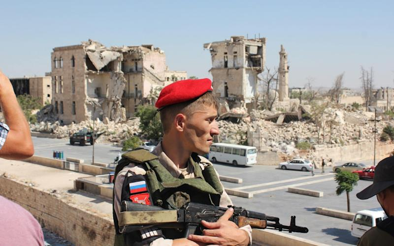 Russian military give a press tour of Syria of Aleppo. - Alec Luhn for The Telegraph