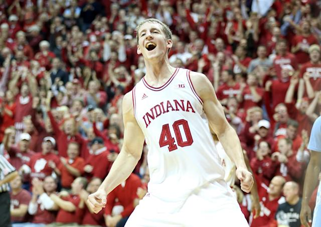 BLOOMINGTON, IN - NOVEMBER 27: Cody Zeller #40 of the Indiana Hoosiers celebrates during the game against the North Carolina Tar Heels at Assembly Hall on November 27, 2012 in Bloomington, Indiana. (Photo by Andy Lyons/Getty Images)