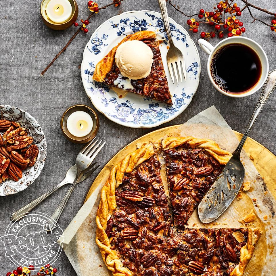 "Yes, technically this is a galette — but it has all the same wonderful qualities as a pie, you just don't need to own a pie dish to make it. A sheet pan is where the magic happens. ""Chocolate and pecans go together, sure,"" says Cathy Barrow, of this dessert from her <em><a href=""https://www.amazon.com/When-Pies-Fly-Stromboli-Empanadas/dp/1538731908/?ie=UTF8&camp=1789&creative=9325&linkCode=as2&creativeASIN=1538731908&tag=people0d0-20&ascsubtag=f5d75a2964cf8126deafbacb05391dec"" target=""_blank"" rel=""nofollow"">When Pies Fly</a></em> cookbook, ""but add a touch of bourbon and the combination soars to the flavor stratosphere.""  Get the recipe <a href=""https://people.com/food/cathy-barrows-chocolate-pecan-galette/"">HERE</a>."
