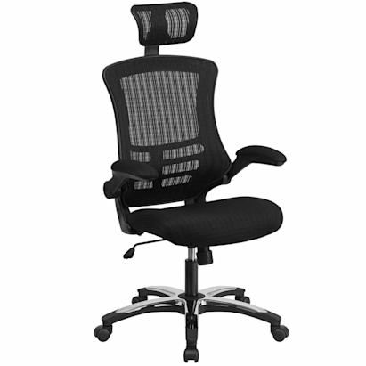 black desk chair with high back and headrest