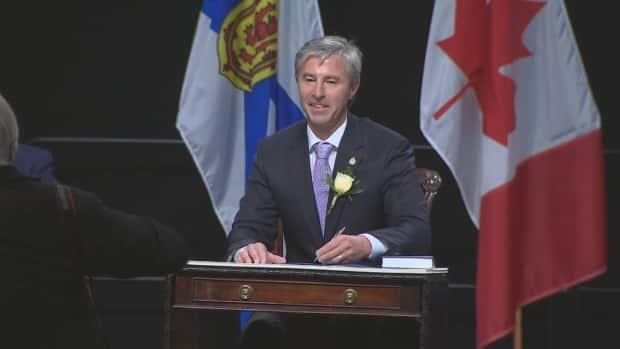 Nova Scotia Premier Tim Houston is shown Tuesday at a swearing-in ceremony at the Halifax Convention Centre. (CBC - image credit)