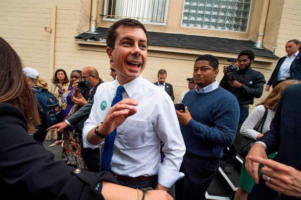 PHOTO: Democratic presidential hopeful Pete Buttigieg meets supporters at a community event in support of a parcel tax to raise money for schools in Los Angeles, May 9, 2019. (Robyn Beck/AFP/Getty Images, FILE)