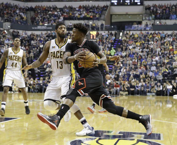 Paul George and Jimmy Butler are planning to make things happen in the West. (AP)