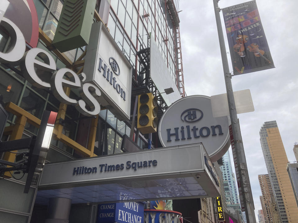 Photo by: STRF/STAR MAX/IPx 2020 10/25/20 Hotels face financial hardship during the Coronavirus Pandemic in New York City. The Hilton at Times Square is scheduled to close this month.
