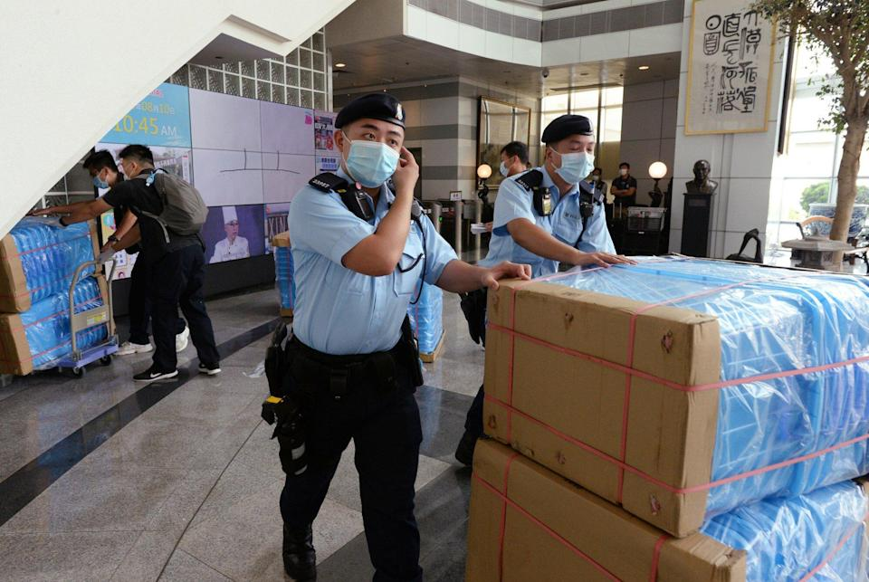 Hong Kong police raided the offices of the Apple Daily newspaper at the Next Digital Limited building in Tseung Kwan O. Photo: Handout