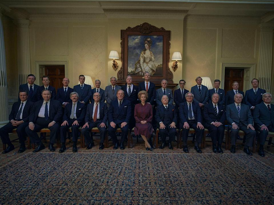 <p>Thatcher and her cabinet at Downing Street, filmed at Hedsor House</p>Des Willie/Netflix