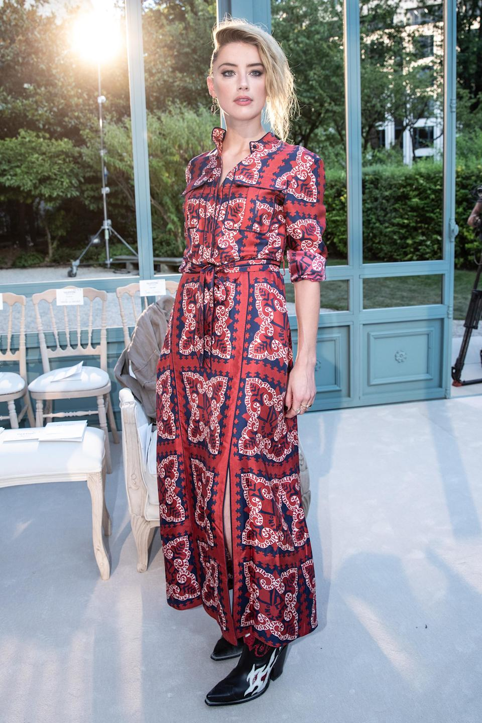 <p>Amber Heard sat FROW at the Valentino haute couture show on 4 July in a pair of seriously covetable cowboy boots. Need. <em>[Photo: Getty]</em> </p>